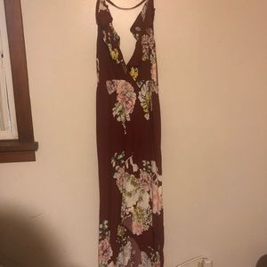 Maroon floral dress backless